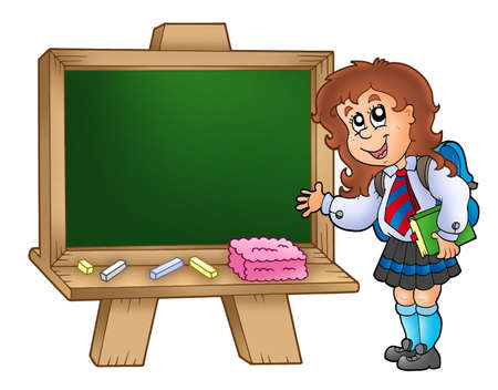 Cartoon girl with chalkboard - color illustration. Stock Illustration - 7481713