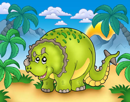 herbivorous animals: Cartoon triceratops in landscape - color illustration. Stock Photo