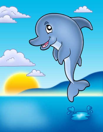 Cute delfines saltando con la puesta del sol - ilustración de color.