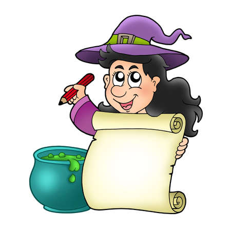 cauldron: Cute witch holding scroll - color illustration.