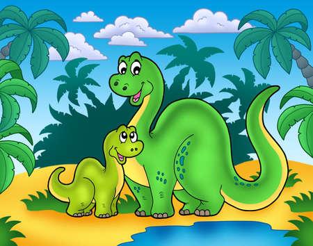 Familia de dinosaurios en el paisaje - ilustración de color.  Foto de archivo - 7481730
