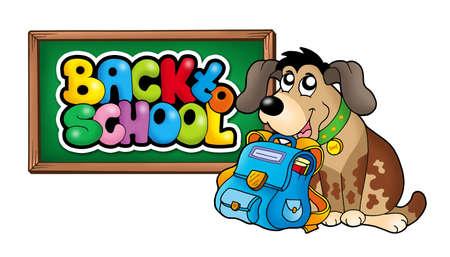 Dog with school bag and chalkboard - color illustration. illustration