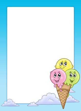 cornet: Frame with cartoon ice cream - color illustration.