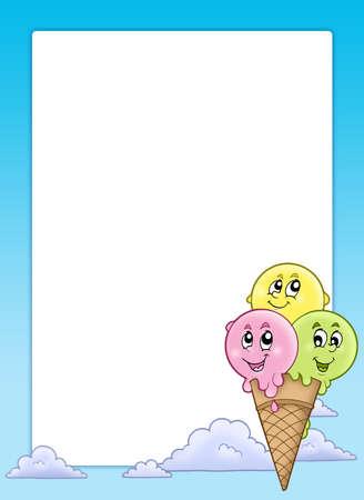 helado caricatura: Marco con helado de dibujos animados - ilustraci�n de color.