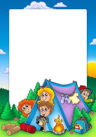 Frame with group of camping kids - color illustration. illustration