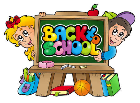 Children in school 3 - color illustration. Stock Illustration - 7481723