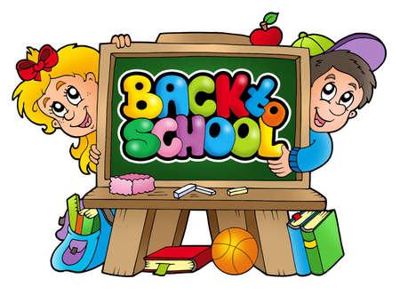 educative: Children in school 3 - color illustration. Stock Photo
