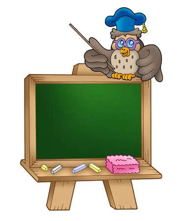 Owl lector in school - color illustration. illustration