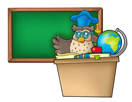 education cartoon: Owl teacher behind desk - color illustration.