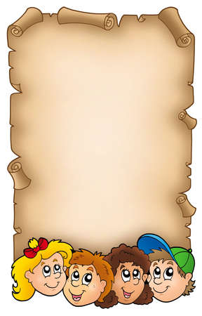 Parchment with various kids faces - color illustration. illustration