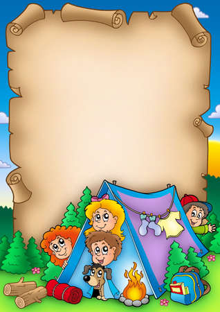 bonfire: Scroll with group of camping kids - color illustration.