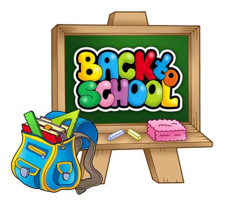 sac d ecole: Sac d'�cole et tableau noir - illustration en couleur.