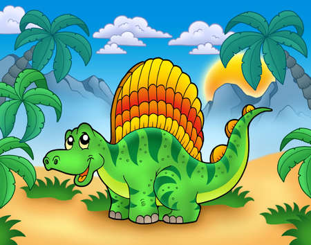 Small dinosaur in landscape - color illustration. illustration
