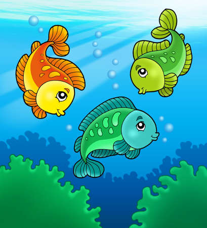 freshwater: Three cute freshwater fishes - color illustration. Stock Photo