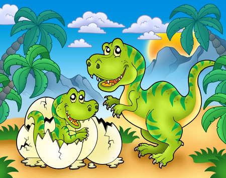 dinosaur egg: Tyrannosaurus rex in landscape - color illustration.