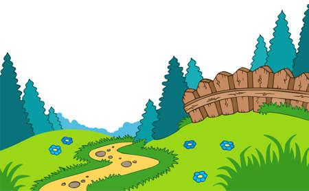 Cartoon country landscape Vector