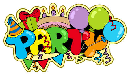 party pastries: Cartoon party sign