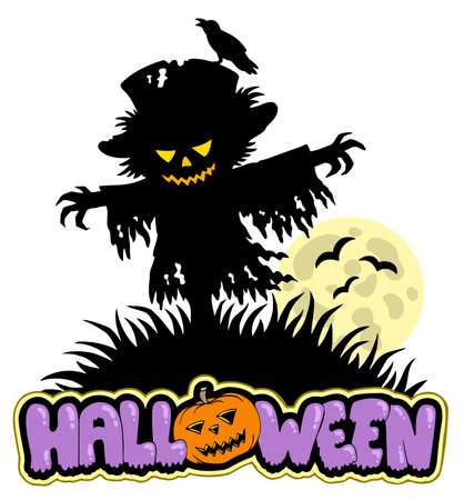 Halloween scarecrow with full moon Vector