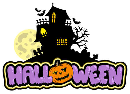 Halloween sign with haunted house Stock Vector - 7554284