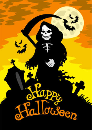 grave stone: Halloween theme with grim reaper