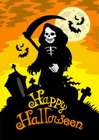tombes: Le th�me d'Halloween avec Grim Reaper Illustration