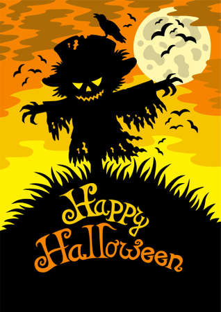 Happy Halloween sign with scarecrow Vector