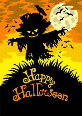 scarecrow: Signo de Halloween feliz con el Espantap�jaros  Vectores