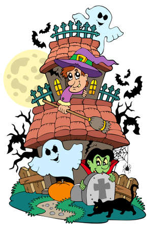 Haunted house with various characters Vector