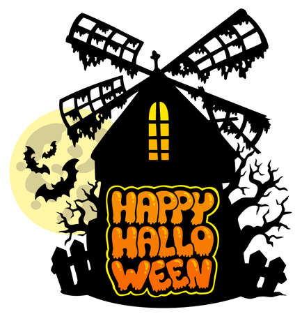 Mill with Happy Halloween sign 1 Stock Vector - 7554272