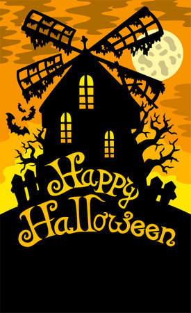 Mill with Happy Halloween sign 2 Stock Vector - 7554277
