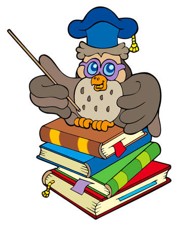 Owl teacher sitting on four books Stock Vector - 7554202