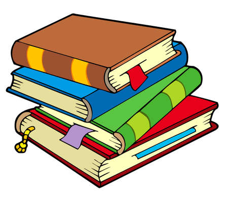 libro caricatura: Pila de cuatro libros antiguos