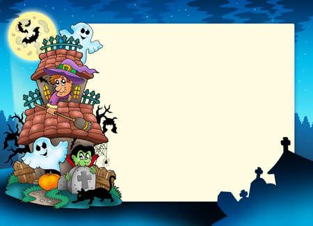 Marco con casa embrujada - ilustración de color.