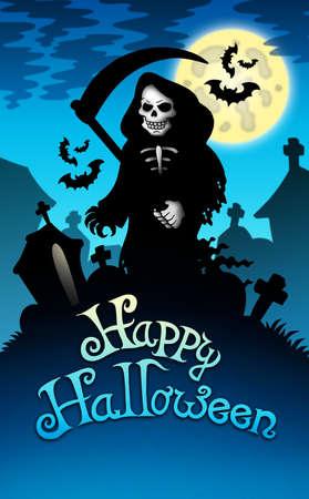Halloween image with grim reaper - color illustration. illustration