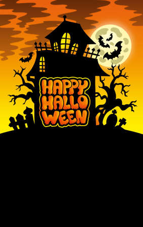 Halloween image with old house 1 - color illustration. Stock Illustration - 7554191