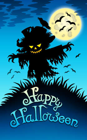 Halloween image with scarecrow - color illustration. illustration