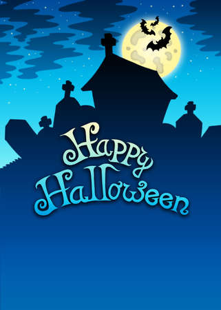 Happy Halloween sign with cemetery - color illustration. Stock Illustration - 7554192
