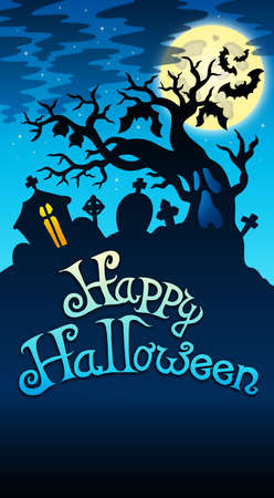 Happy Halloween sign with tree - color illustration. Stock Illustration - 7554195