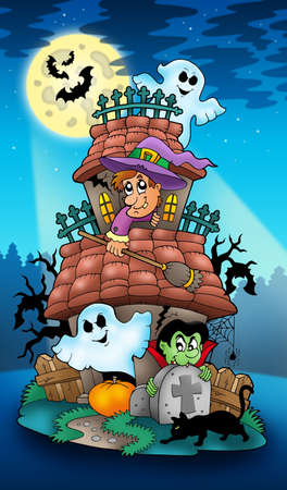 House with Halloween characters - color illustration. illustration