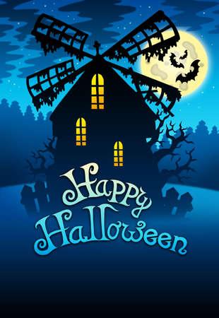 Mysteus Halloween mill 1 - color illustration. Stock Illustration - 7554196