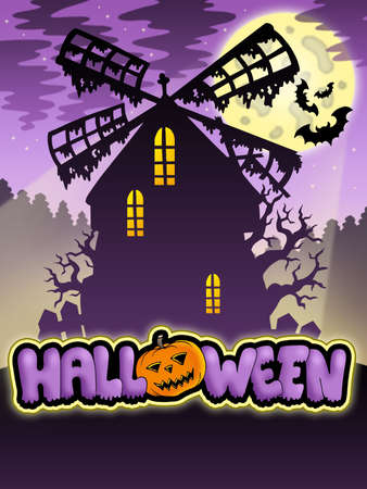Mysterious Halloween mill 2 - color illustration. Stock Illustration - 7554198