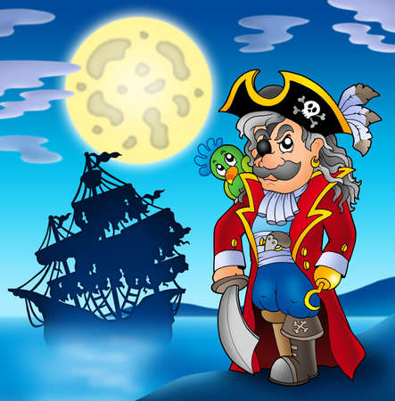 pirate hat: Noble corsair with ship silhouette - color illustration.