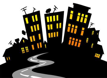 city night: Cartoon city skyline