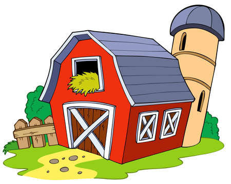 barnyard: Cartoon red barn Illustration