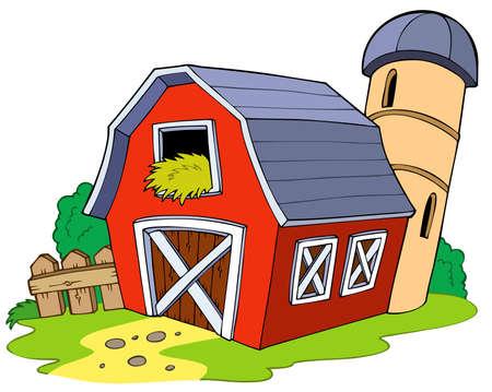 hoog gras: Cartoon rode schuur Stock Illustratie