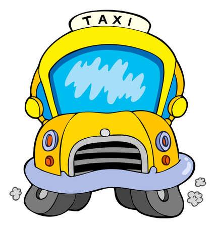 Coche de taxi de dibujos animados  Ilustración de vector