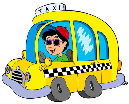 taxi cab: Cartoon taxi driver