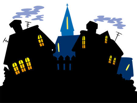 church window: Cartoon village skyline