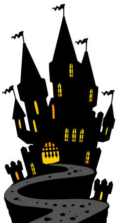 Castle on hill silhouette Stock Vector - 7630385