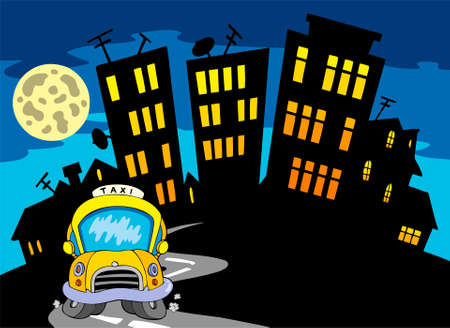 City silhouette with taxi and Moon   Stock Vector - 7630383